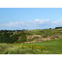 A shot of the old castle from the back nine at Pennard Golf Club in Wales.