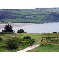 A view of the par-3 16th hole at Cardigan Golf Club in south Wales.