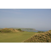 The par-5 first hole at St. Enodoc Golf Club's Church Course plays out to sea.