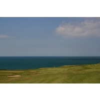 The par-4 first hole at Nefyn & District plays straight downhill.