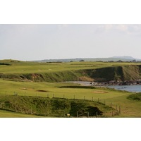 The par-3 16th hole at Nefyn & District plays over the blow hole.