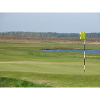 The 18th green at Ljunghusen Golf Club in Hollviken, Sweden.