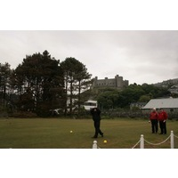 The Harlech Castle ruin looms over Royal St. David's at every turn, including the first tee box.