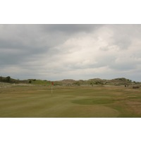 The 14th hole is one of many long par 4s on Royal St. David's back nine.