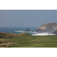 The view from the clubhouse of the course and Constantine Bay at Trevose Golf and Country Club.