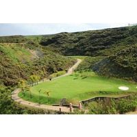 The first hole's green has little room for error on the Gran Flamingo Golf Club.