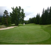 The very tight par-5 seventh hole at Correncon en Vercors Golf Club plays uphill to a narrow green.