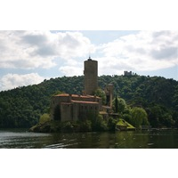 On the Loire Gorges, a historic monastery sits on an island and can be seen by boat.