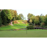 The 12th green at the Druids Glen golf course at Druids Glen Resort is a scenic spot.