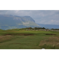 The par-3 ninth hole at County Sligo Golf Club looks straight into Benbulben Mountain, made famous by poet W.B. Yeats.