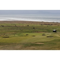 The elevated seventh tee box on the No. 1 Course at Gullane Golf Club shows off the open expanse of the terrain.