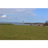 Scenery greets golfers at the eighth green on the No. 1 Course at Gullane Golf Club in East Lothian, Scotland.