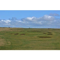 Bunkers guard the 13th green on the No. 1 Course at Gullane Golf Club in East Lothian, Scotland.