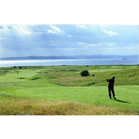The third tee of the No. 1 Course at Gullane Golf Club requires shots off the Gullane Hill.