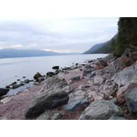 The rocky shores of Loch Ness, near Inverness in the Highlands.