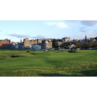 The 17th green of the Old Course and town of St. Andrews in the background.