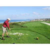 Teeing off on the 15th at Praia D'el Rey.