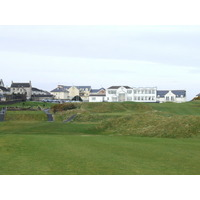 The clubhouse looms over the first hole at Castlerock Golf Club in County Derry.