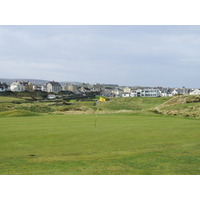 Castlerock town can be seen from the 17th green.