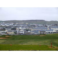 The second tee on the Old Course at Lahinch Golf Club offers a great view of town and the surrounding hills.