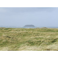 Glashedy Rock looms offshore at Ballyliffin, Ireland's northernmost golf club.